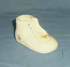 VTG Ceramic Baby Shoe Boot Bootie Figurine w/ Floral Rose Detail Roses