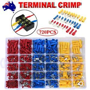720PCS Assorted Insulated Electrical Wire Crimp Terminals Port Connectors Kit AU