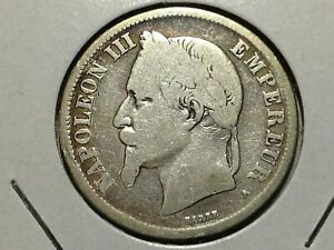 FRANCE 1869A TWO FRANCS BETTER DATE OLD SILVER COIN