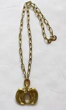 Gold Plate Brass Vertebrae Chain Necklace Vintage 1990 Robert Lee Morris Green