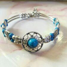 Ladies Jewelry Tibetan Silver Bracelet Blue Bead Bangle Woman Bracelet