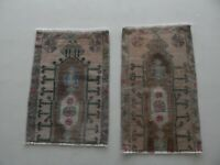 Vintage Small Wool Doormats, Set Of 2, Pair Hand Knotted Rugs, Oushak Ushak Rug