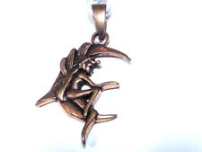 Small Bronze Pendant Fairy Sat On The Moon Imp Pixie Charm Necklace Angel Wing
