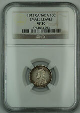 """1913 Canada 10c Ten Cents Dime Coin NGC VF-30 """"Small Leaves"""""""