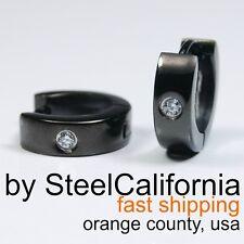 Guy's black earrings, diamond hoop earrings, stainless steel, size XS, M, L, XL