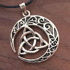 Celtic Crescent Moon Triquetra Pendant Necklace Moon Necklace Wiccan Jewelry