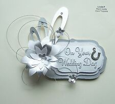 3D WEDDING DAY CARD CRAFT TOPPER, EMBELLISHMENT  WED-DAY-4-1  Silver