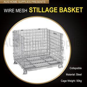 Wire Mesh Stillage Basket HDuty warehouse stackable folding galvanised1.2mx1m