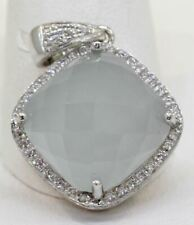STUNNING RINA LIMOR 18K WHITE GOLD CHALCEDONY PENDANT WITH DIAMONDS! #L3