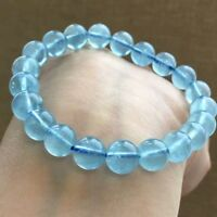 Natural Blue Aquamarine Round Stretch Clear Beads Bracelet 9mm AAA