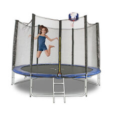 New 10Ft Round Trampoline With Safety Net And Free Ladder Basketball Hoop Set