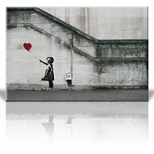 Canvas Print - There is always hope - Girl and red heart balloon- 32 x 48 inches
