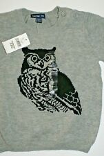 Baby Gap Little Boy Owl Print Pullover Crewneck Sweater Shirt Gray 18 - 24 M NWT