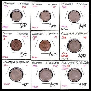 9 COLOMBIA Minor Coins 1-2-5 Centavos 1918-1950 Good to AU $4 s&h to USA!