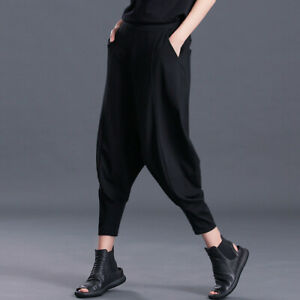 Unisex Drop Crotch Pants Baggy Harem Style Trousers Hippie Elastic Waist Casual