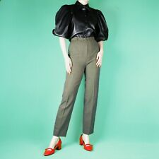 VINTAGE 80's 90's Grunge High Waist Belt Wool Slim Straight Trousers Pants S 10