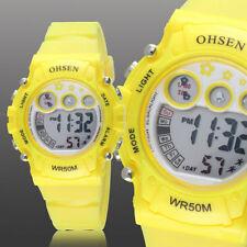 Ohsen Teen Kid Digital G Sport 12/24 Hour Alarm Quartz Watch Proof Shock Yellow