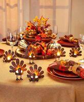 Set Of 6 Rustic Bronze Turkey Tea Light Candleholders, Thanksgiving, Fall Decor