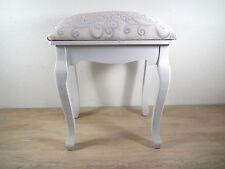Hocker Sitzhocker – weiß – Holz – Shabbystil – Sitzbezug cremefarben