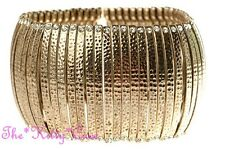 Burnt Gold Hammered Tribal Slave Ethnic Bars Flex Bracelet w/ Swarovski Crystals