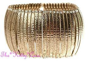 Hammered Tribal Slave Ethnic Bars Burnt Gold Flex Bracelet w/ Swarovski Crystals