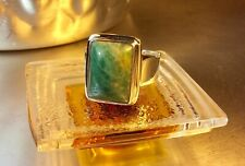 Genuine 925 Sterling Silver and Natural Emerald Adjustable Ring Size 10.5