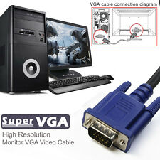 Valued Blue VGA 15 Pin Male to Male Plug Computer Monitor Cable Wire Cord 6FT
