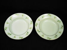 PAIR OF GENUINE LALIQUE LIMOGES ORCHIDEES RIMMED SOUP BOWLS NEW OLD STOCK!!