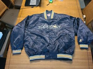 VTG Starter Houston Astros Satin Diamond Collection Jacket Size 4XL Blue Gold