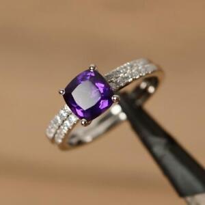 2.50Ct Cushion Cut Amethyst Womens Bridal Engagement Ring 14K White Gold Finish