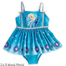 Disney Store Frozen Elsa Blue One Piece Skirted Swimsuit for Girls Size 9 10 NWT