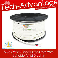 50M X 2MM 7AMP MARINE GRADE TINNED TWIN/TWO CORE LED LIGHTS ELECTRICAL WIRE