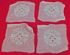 Antique Whitework Drawn Cutwork Lace Embroidered Batiste 4 Patchwork Squares Vtg