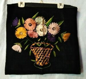"Vtg Hand Embroidered Throw Pillow Cover With Ribbon Art Black Velvet 17""x19"" Exc"