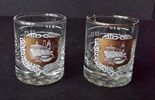 VTG MCM 2 Pharmacy Gold Mortar Pestle Shot Glasses Chemistry Barware Whiskey Ho