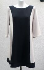 Robe Manches 3/4 Beige Et Noire NEW SAKS Woman Taille 52