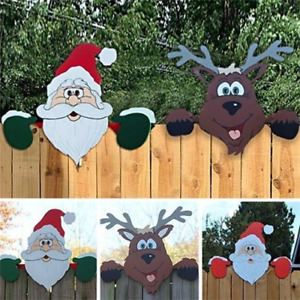 Garten Zaun Nikolaus Santa Weihnachtsmann Elch Weihnachten Deko Aussen Dekor