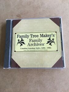 Family Tree Maker Canadian Genealogy Index 1600 to 1900's - CD-Rom - New Sealed!