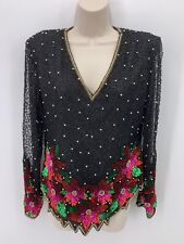 Vintage Laurence Kazar Beaded Sequin Silk Cocktail Top M Christmas Poinsettia