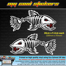 2 x Skeleton Fish 20cm Vinyl Sticker Decal, for Boat 4X4 Fishing Tackle box Esky