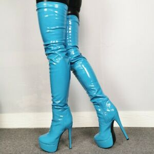Womens Thigh-high Boots Patent Leather Super High Heels Clubwear Platform Shoes