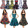 Vintage Womens 1950s Swing Tea Dress Evening Party Retro Rockabilly Skater Dress