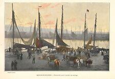 """BOULOGNE/MER """" PREPARATIFS PECHE AUX HARENGS / PECHE A LA CREVETTE """" IMAGES 1900"""