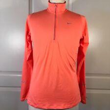 NIke Dri Fit Womens Size Large Running Shirt 1/2 Zip Long Sleeve Orange