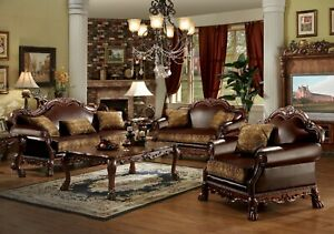 Acme  Furniture Dresden Brown Pu Chenille Sofa and Loveseat Living Room Set