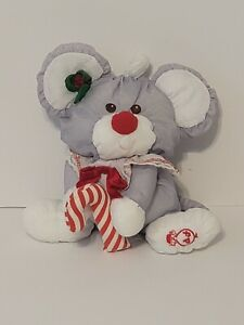 Fisher Price White CHRISTMAS MOUSE Puffalumps Plush Toy Doll #8036 Vintage 1987