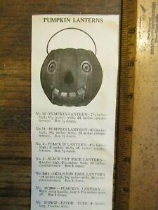 Antique Vintage Ephemera 1920s Halloween Pumpkin Jack O Lantern Catalog Print Ad