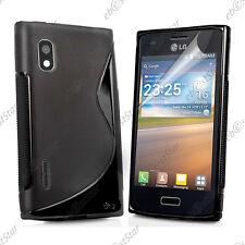 Housse Etui Coque Silicone Motif S-line Gel Souple Noir LG Optimus L5 E610