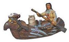 Deko Western Kanu mit Indianer und Wolf handbemalt aus Polyresin