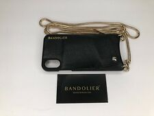 "Leather Crossbody iPhone X Bandolier Black w/24"" Gold Band (MUST SEE PICS)"